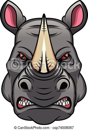 rhino head mascot - csp74008087