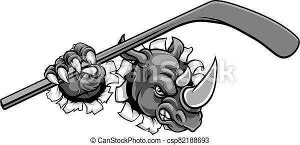 Rhino Ice Hockey Player Animal Sports Mascot - csp82188693