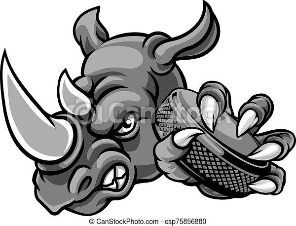 Rhino Ice Hockey Player Animal Sports Mascot - csp75856880