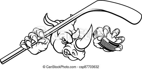 Rhino Ice Hockey Player Animal Sports Mascot - csp87703632