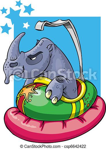Rhino in bumper car - csp6642422