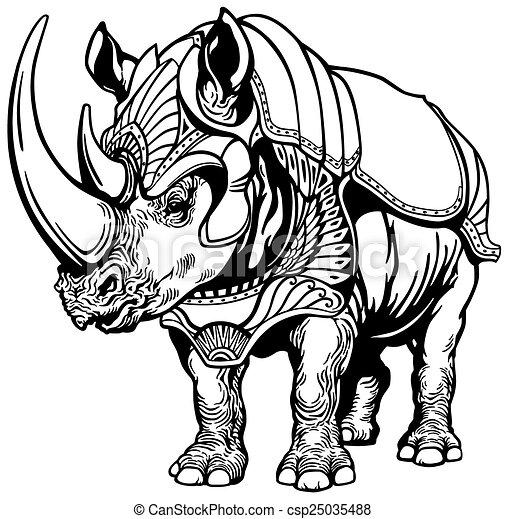 rhino in the armor - csp25035488