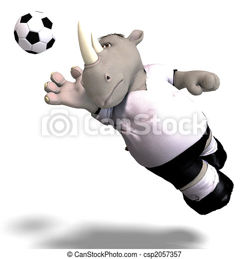 rhino plays soccer / football - csp2057357