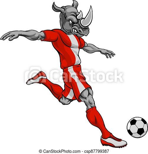 Rhino Soccer Football Player Animal Sports Mascot - csp87799387