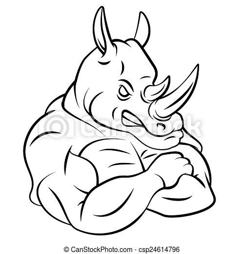 Rhino Strong Mascot - csp24614796
