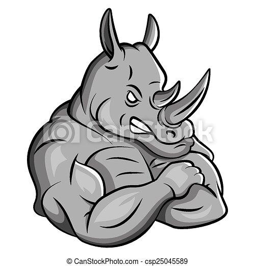 Rhino Strong Mascot - csp25045589