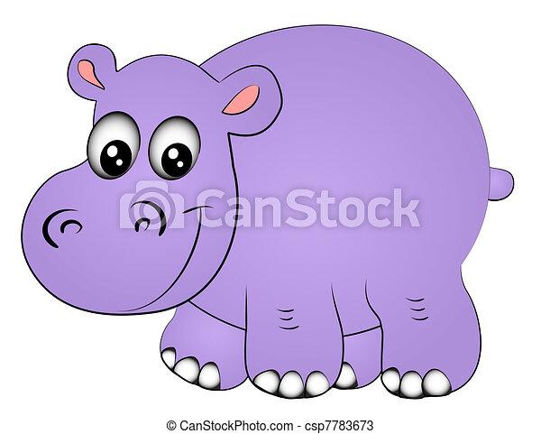 illustration rhinoceros hippopotamus one insulated on