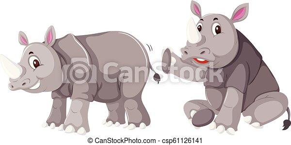 Rhinoceros on white background - csp61126141