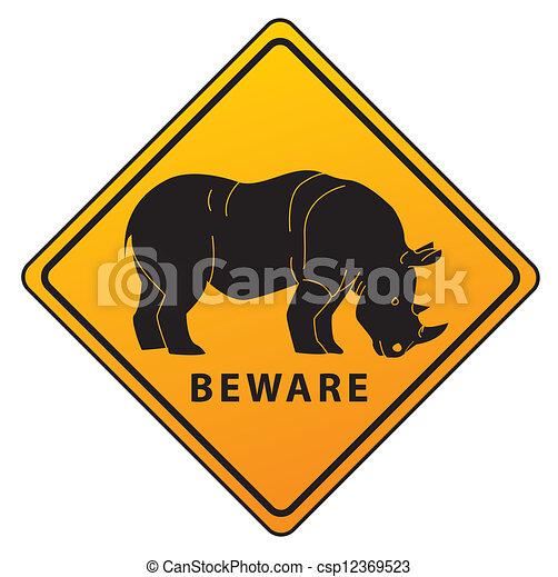 Rhinoceros road sign - csp12369523