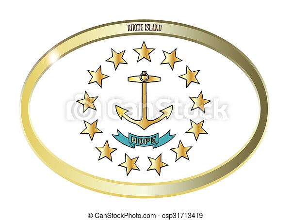 Rhode Island State Flag Oval Button - csp31713419