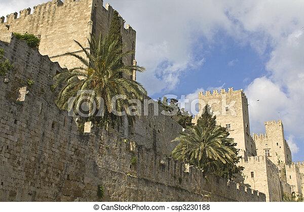 rhodes, château, chevaliers, île, grèce - csp3230188