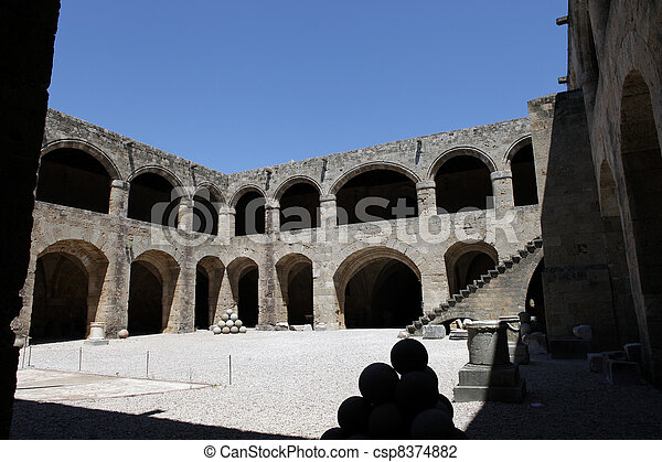 Rhodes - the medieval building of the Hospital of the Knights. At present Archaeological museum . - csp8374882