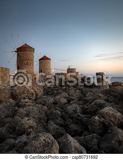 Rhodes Windmills and Fort at Blue Hour - csp80731692