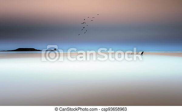 Rhossili Bay on the Gower Peninsula - csp93658963