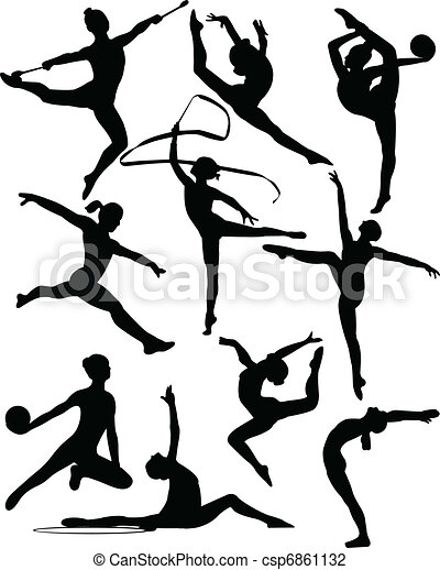 rhythmic gymnastic silhouettes vector