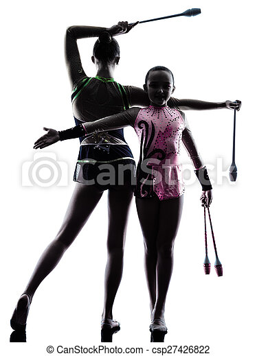 Rhythmic Gymnastics woman little girl child teenager silhouett - csp27426822