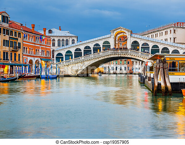 Rialto Bridge at dusk - csp19357905