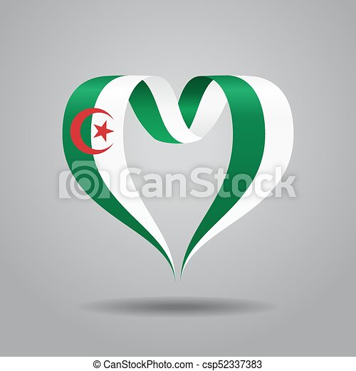 ribbon., 心の形をしている, アルジェリアのフラグ, ベクトル, illustration. - csp52337383