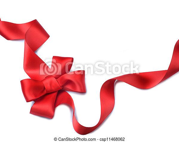 ribbon., 선물, 고립된, bow., 하얀 공단, 빨강 - csp11468062