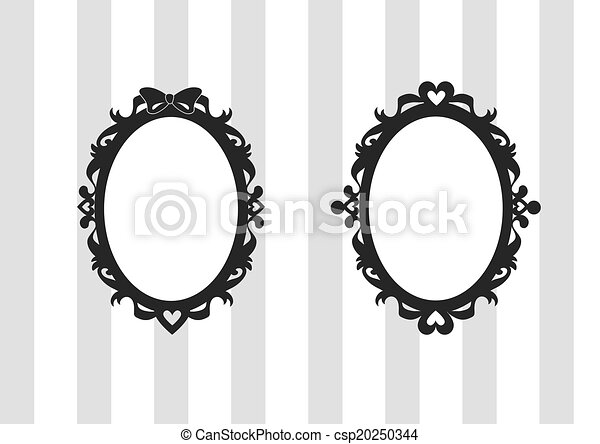 Ribbon and Heart Oval Frames Set - csp20250344