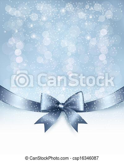 ribbon., arc don, vecteur, lustré, fond, vacances, noël - csp16346087