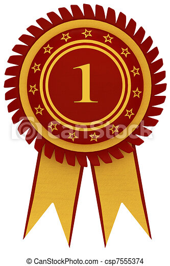 First Place Award Badge With Red Ribbon And Golden Frame Isolated On White Background
