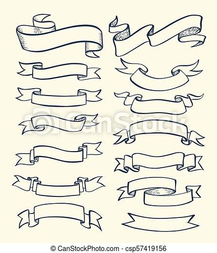 Ribbon banner drawn - csp57419156