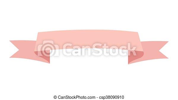 Line Art Ribbon : Pink simple flat design ribbon banner icon vector clip art