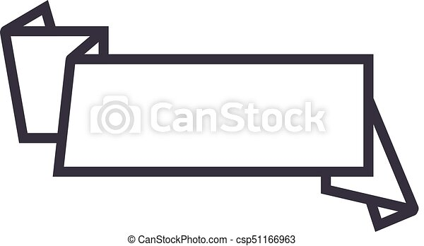 ribbon banner sign vector line icon sign illustration on clip rh canstockphoto com ribbon banner clipart black and white ribbon banner clipart black and white