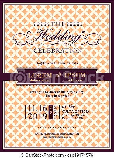 Ribbon banner Wedding invitation frame template - csp19174576