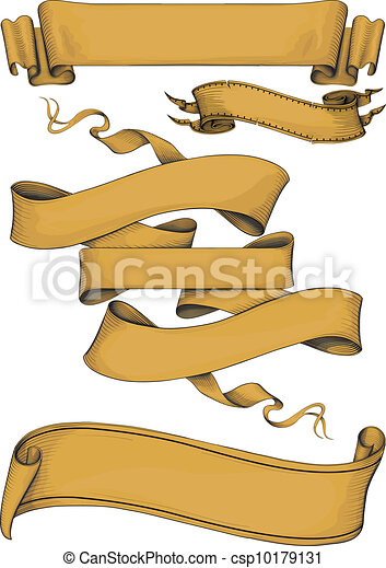 ribbon banners engravin style - csp10179131
