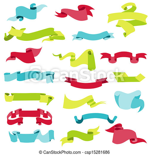 Ribbon Banners For Decoration Scrapbook And Design In Vector