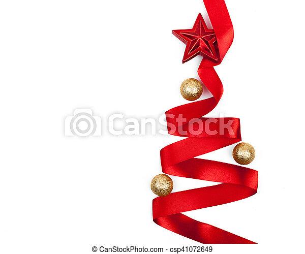 Ribbon christmas tree isolated - csp41072649