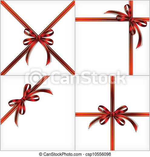 ribbon., ensemble, cadeau, arrière-plans, vecteur, rouges - csp10556098