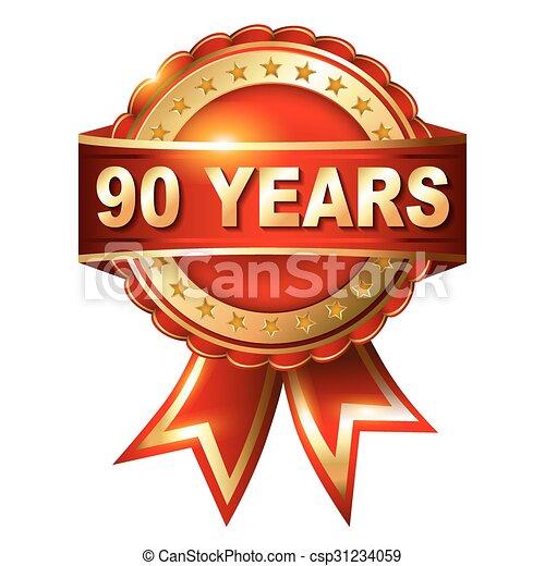 ribbon., etiket, gouden jaren, jubileum, 90 - csp31234059