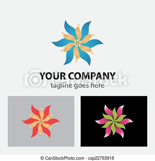 Ribbon flower logo - csp22763918