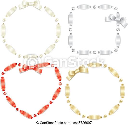 Ribbon frame set. Set of ribbon frames isolated on white background.