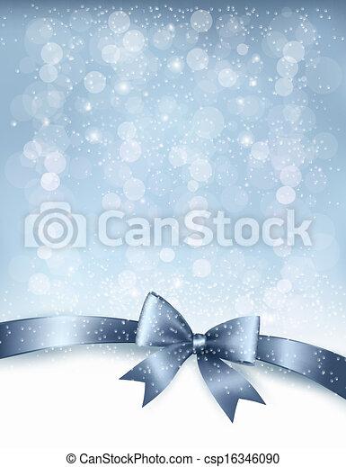 ribbon., geschenk buiging, vector, glanzend, achtergrond, vakantie, kerstmis - csp16346090