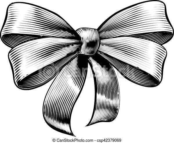 Line Art Ribbon : Ribbon gift bow vintage woodcut engraved etching. a clip art