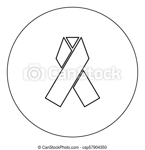 Ribbon icon black color in circle vector illustration isolated - csp57904350