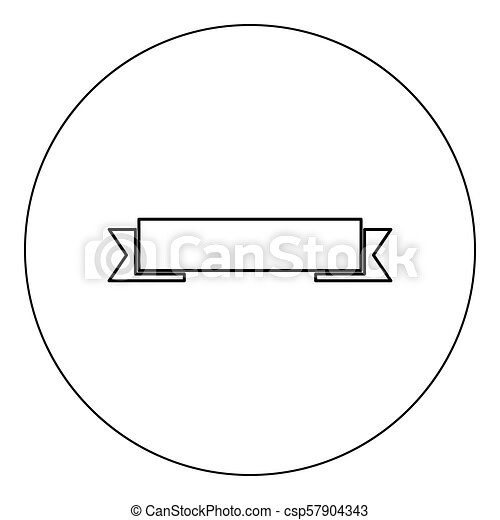 Ribbon icon black color in circle vector illustration isolated - csp57904343