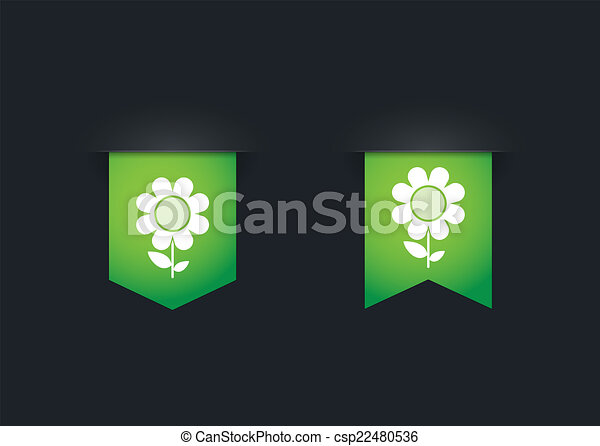Ribbon icon set with a flower - csp22480536