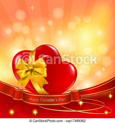 ribbon., illustration., deux, petite amie, arrière-plan., vecteur, cœurs, jour, rouges - csp17489362