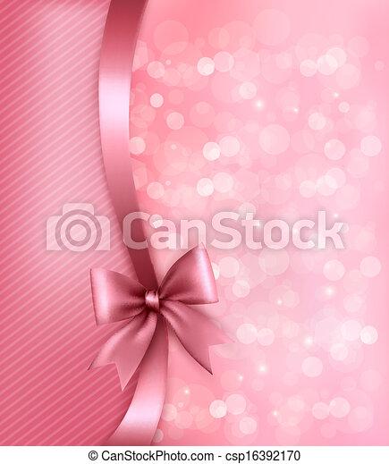 ribbon., papier, vieux, fond, vacances, cadeau, vecteur, arc, rose - csp16392170