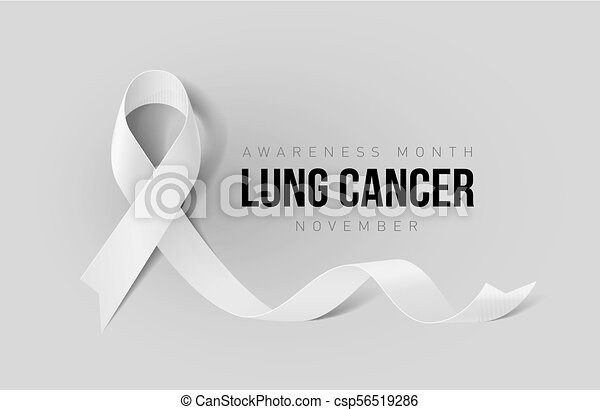 Ribbon Symbol Banner With Lung Cancer Awareness Realistic White