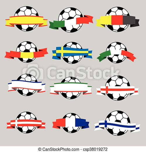 Ribbon with football banner black and white vector - csp38019272