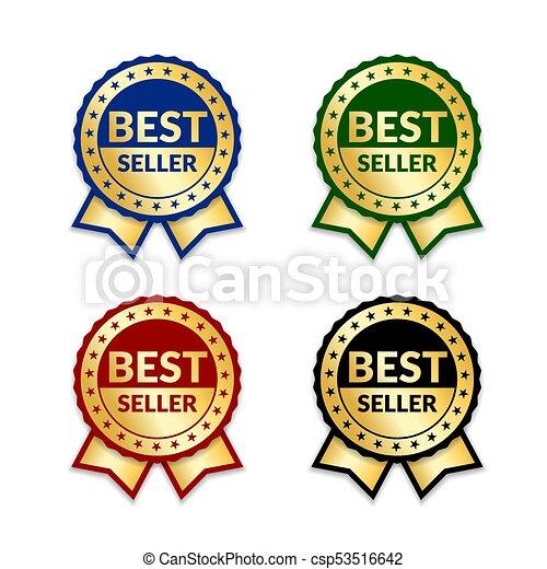 ribbons award best seller set gold ribbon award icon isolated white