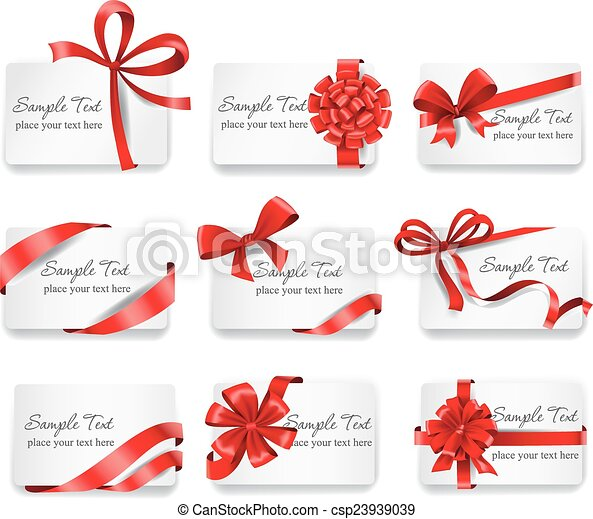 ribbons., presente, festivo, cartões, vermelho - csp23939039