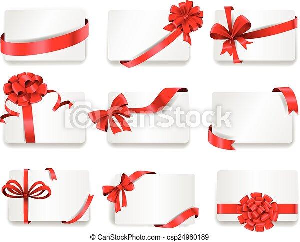 ribbons., presente, festivo, cartões, vermelho - csp24980189