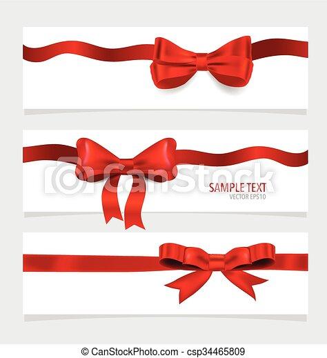 ribbons., vermelho, cartões - csp34465809